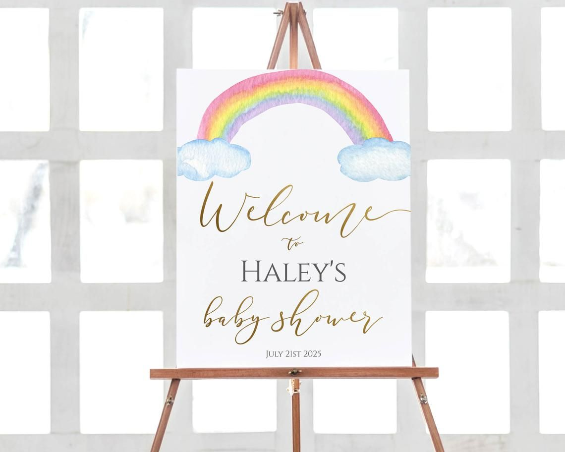 Rainbow Welcome Sign, Rainbow Baby Shower, Welcome Poster ...