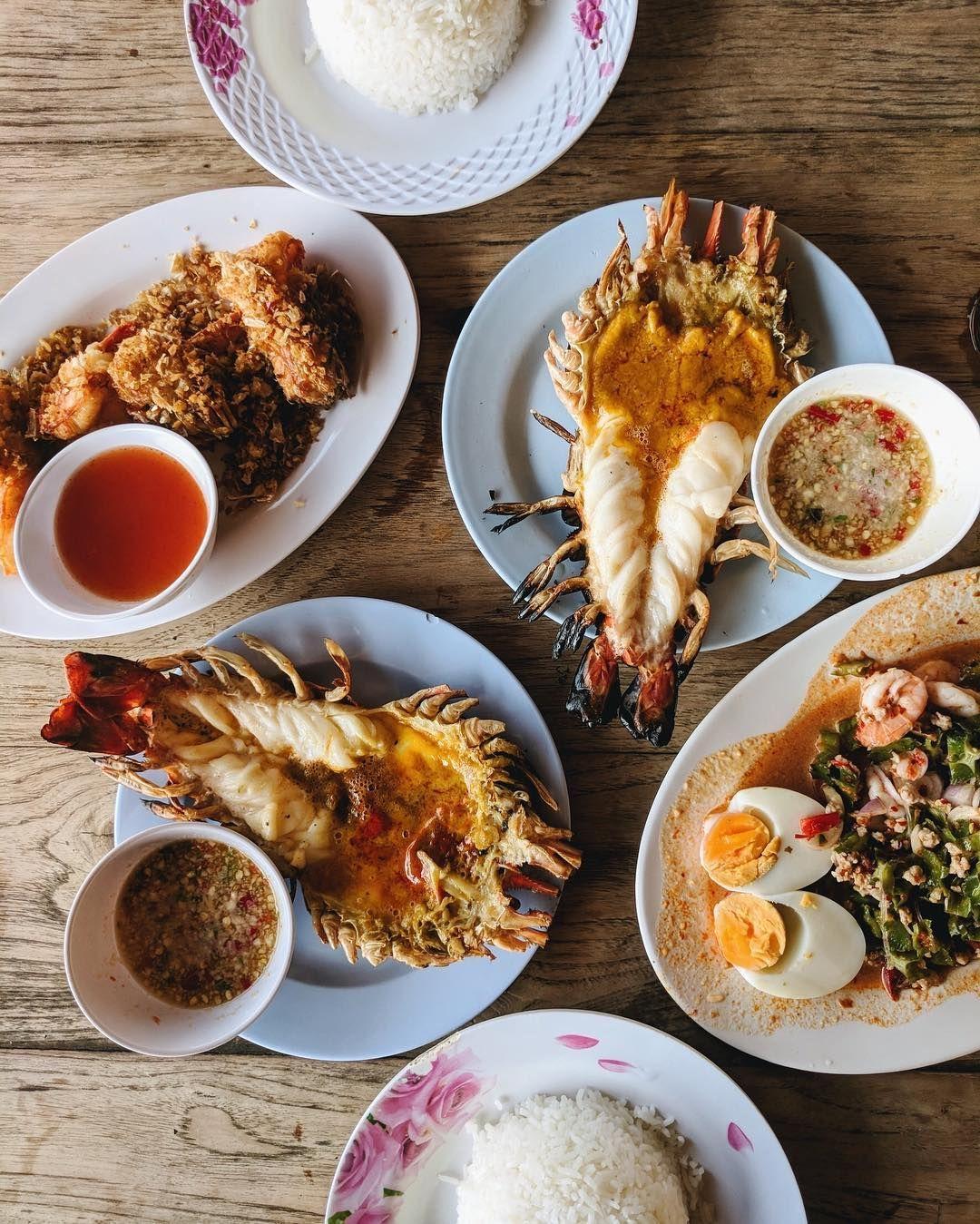 Giant river prawns at a restaurant in Ayutthaya, Thailand