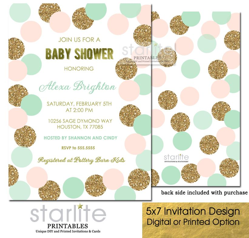 Blush Pink Mint Gold Baby Shower Invitation Girl Glitter Polka Dots ...