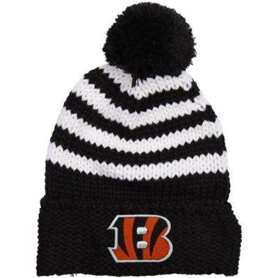 New Era Cincinnati Bengals Ladies Chunky Stripe Cuffed Knit Ski Hat - Black 6788c1bff