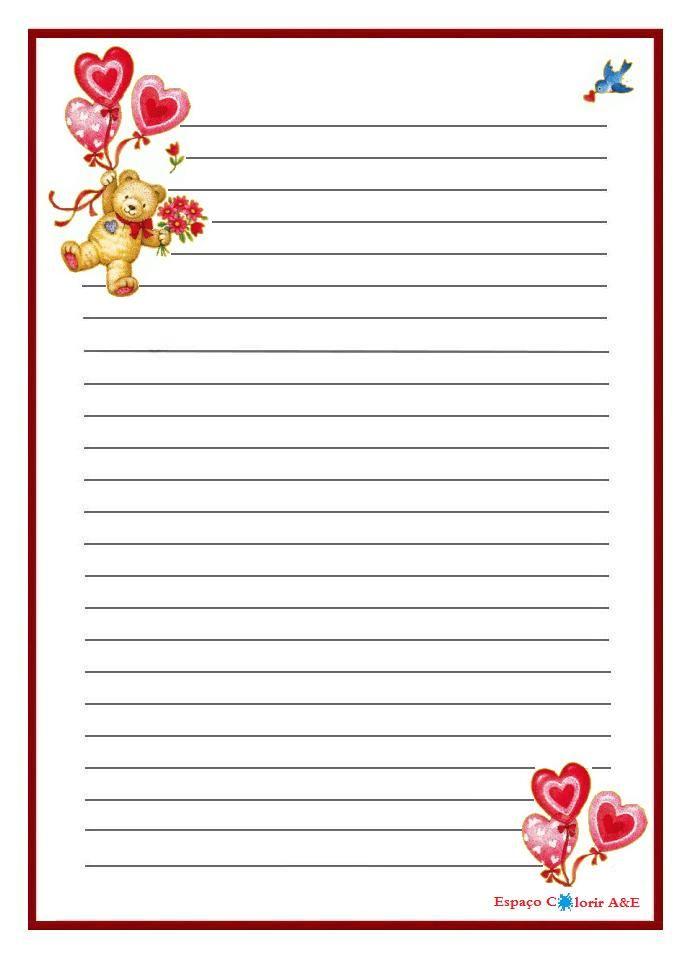 Papel de carta- Ursinho com balões de coração