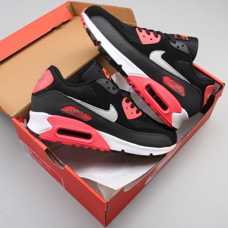 New Nike Air Max 90 Essential Black/Grey-Atomic Red Sale | Nike ...