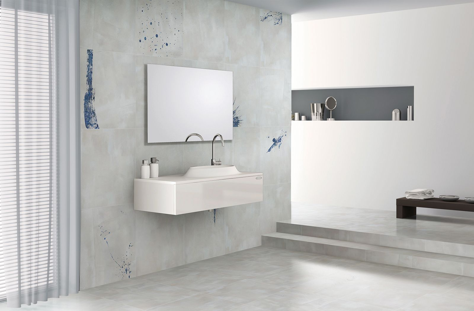 Bathroom with graffiti tile feature wall. Tile selection from Yun ...