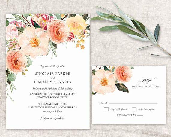Wedding Invitation 2018 Printable Watercolor Fl Peach Blush Invites Boho Customized