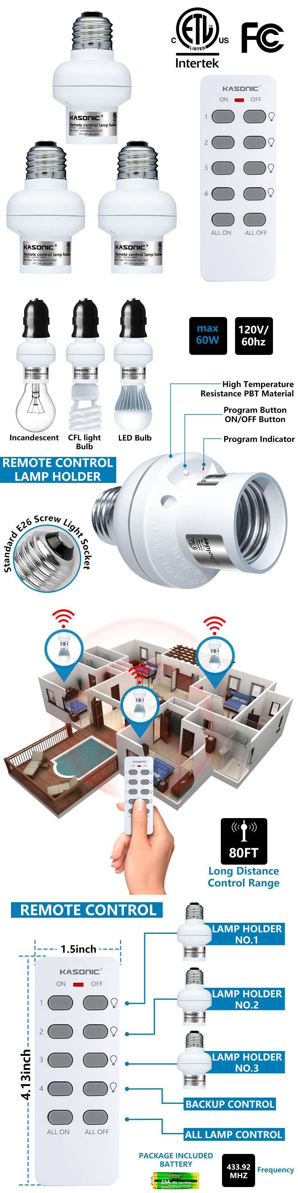 Wireless Remote Control Lamp Holder Smart Home Lamp For E26 E27 Bulb Baseholder Lamp Holder Remote Control Wireless Lights