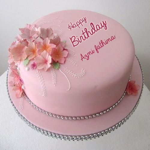Pink And Sparkly Single Tier Birthday Cake With Name Cake Name