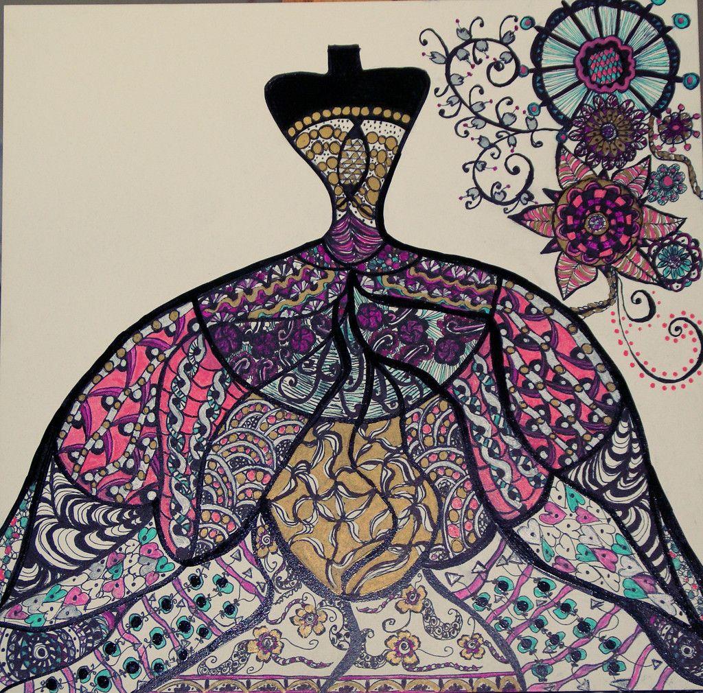 Evening dress mermaid zentangle