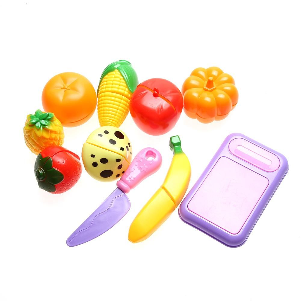 6fb65abe19bb 10pcs Set Plastic Kitchen Food Toys Fruit Vegetable Cutting Kids Pretend  Play Educational Toy Cook