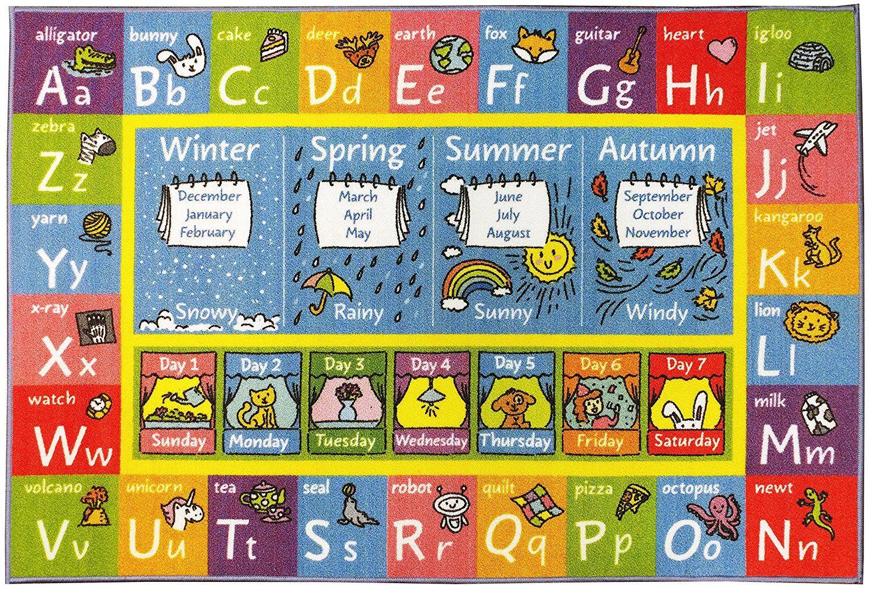 "Kids Rug ABC Alphabet numbers Shapes Educational 3/'3/"" x 5/' Rectangle FREE SHIPPI"