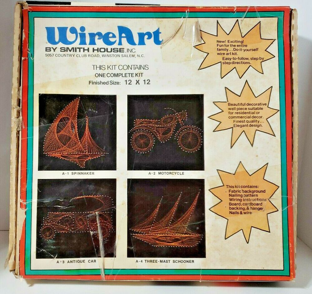 vintage retro wire art craft kit motorcycle by smith house complete unused cool smithhouse [ 1000 x 943 Pixel ]