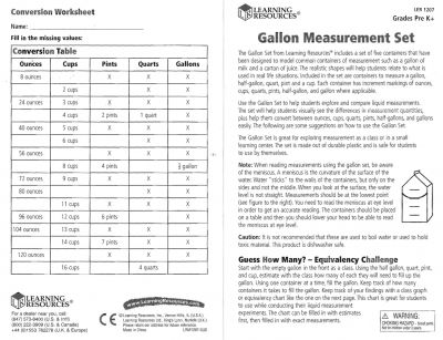 Liquid Measurements - Charts and Activities Teaching Resources - liquid measurements chart