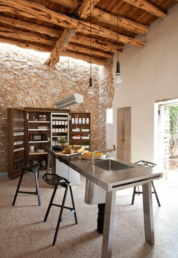 Mur Pierre Apparente Intérieur mur en pierre apparente mobilier en bois et plafond en