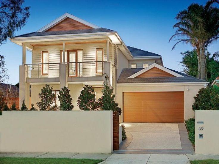 Fachada de la casa sencilla con balc n maria pinterest for Modelos de casas exteriores