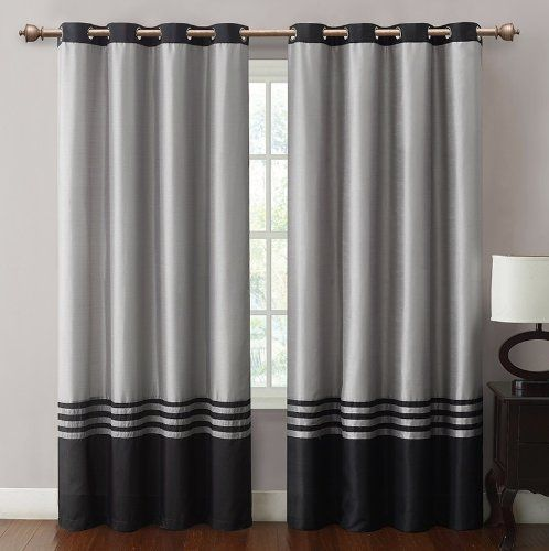 Barclay Black Grey Grommet Window Curtain Panel 55x84 34