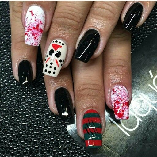 Jason Voorhees inspired nails.