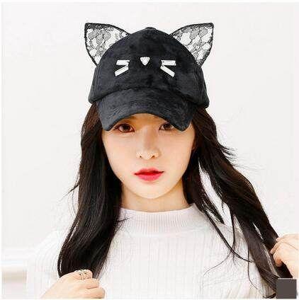 baseball hat with pig ears cap over cat unique girls warm velvet autumn wear