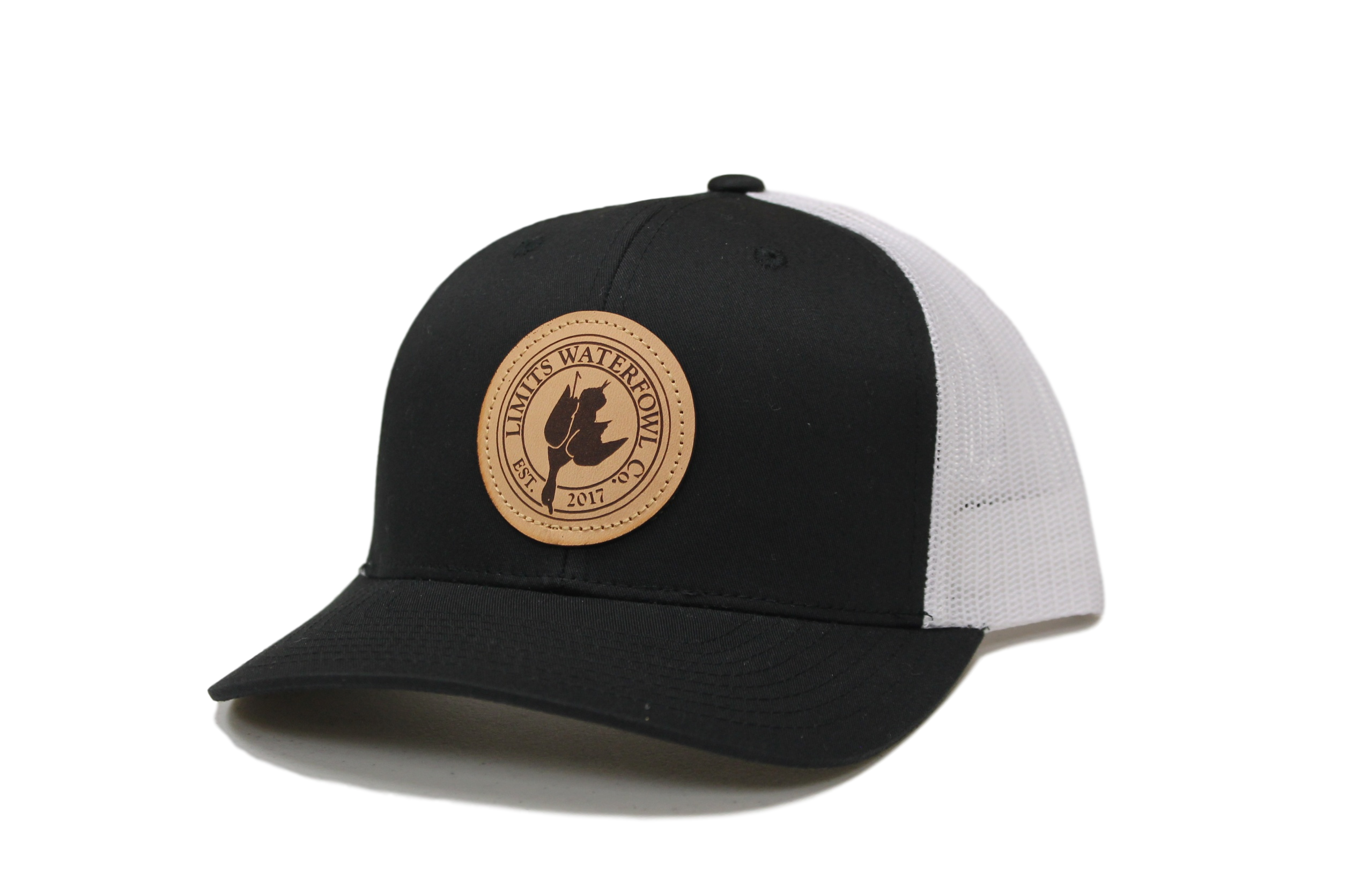 a59abc99de8 Leather Patch Logo Trucker Hat-Black