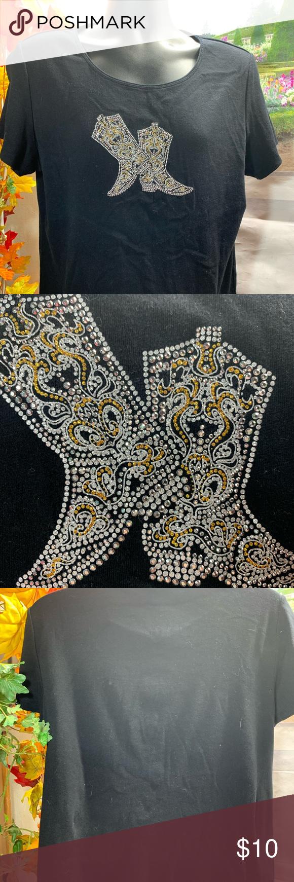 Karen Scott xl boots shirt T1192 Beautiful design bright gold silver bling come to a beautiful designer Karen Scott. Short sleeve never worn  Length 25 Chest 22.5 NWOT Karen Scott Tops Tees - Short Sleeve