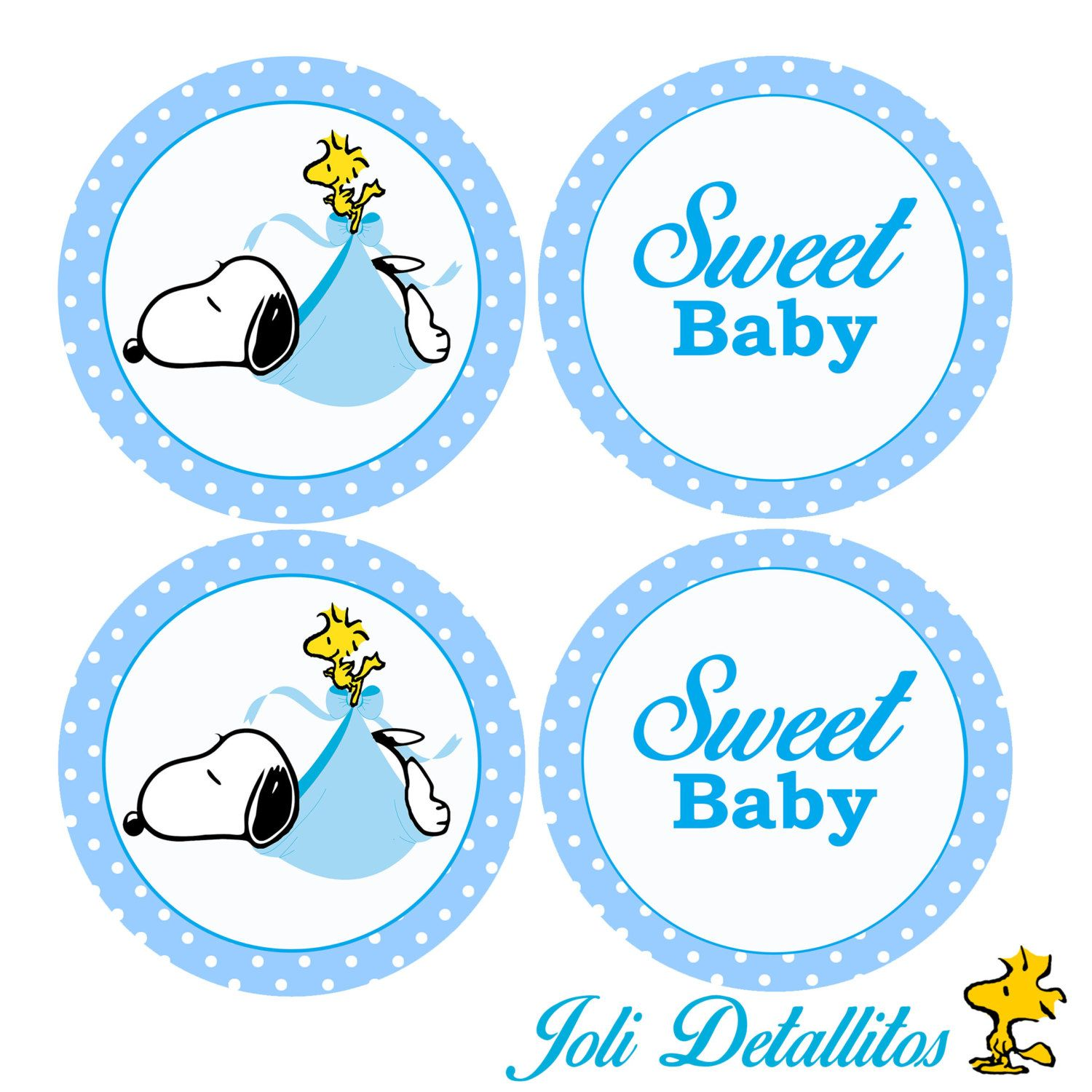 Charming Snoopy Baby Shower Cupcake Toppers