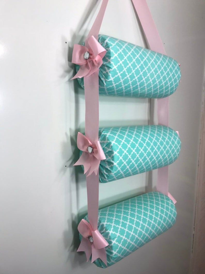 Headband Holder or head band organizer Teal quatrefoil and light pink ribbons Handmade Triple - 3 tiers