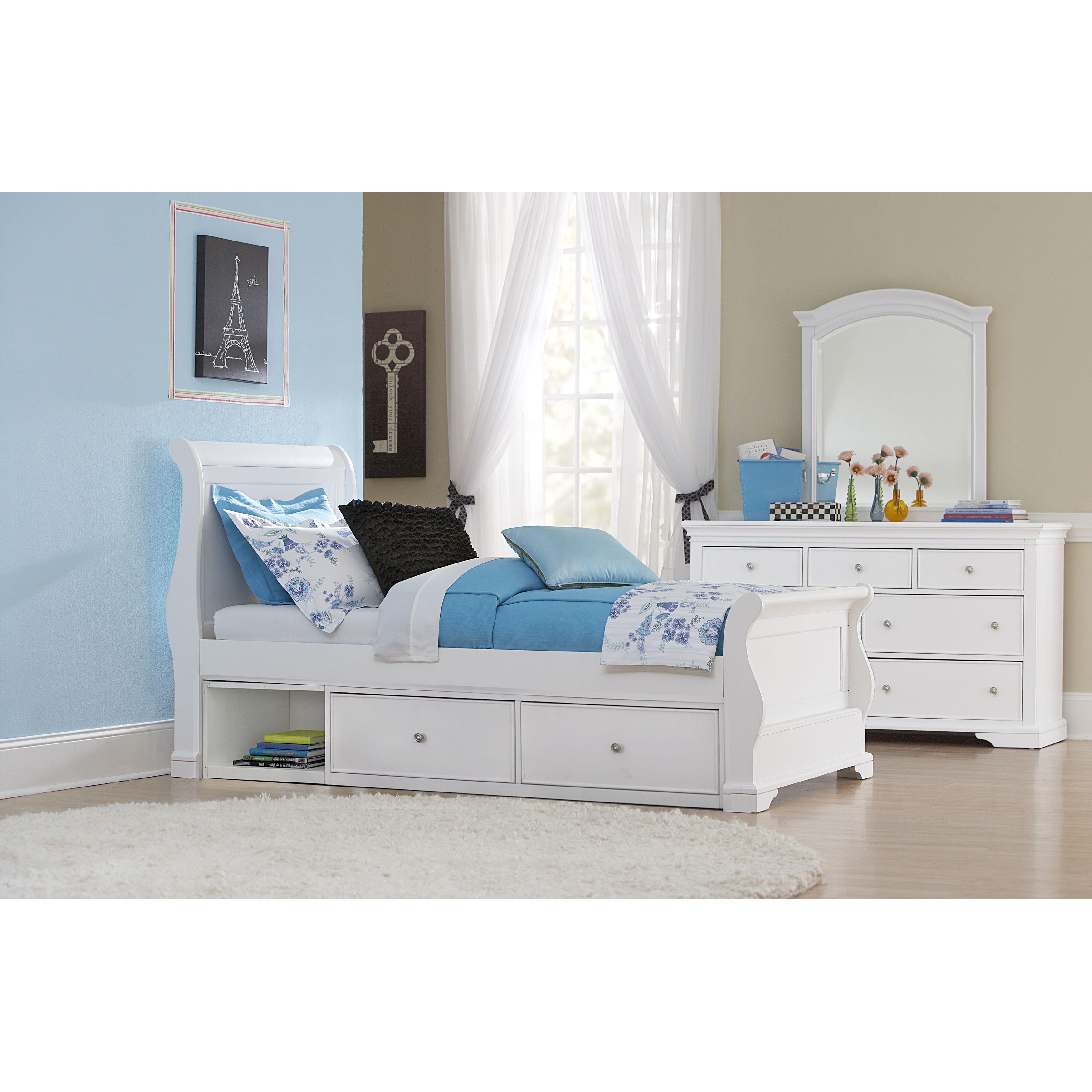 Walnut Street Twin Riley Sleigh Bed With Storage White Overstock