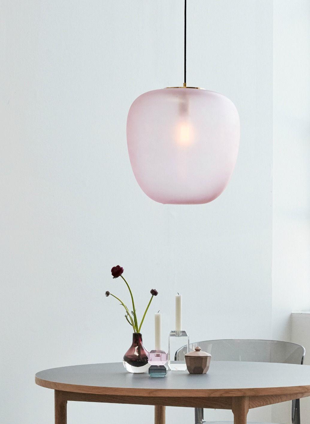 HÜBSCH Große Deckenlampe Glas Messing rosa in 2019 | Hübsch Interior ...