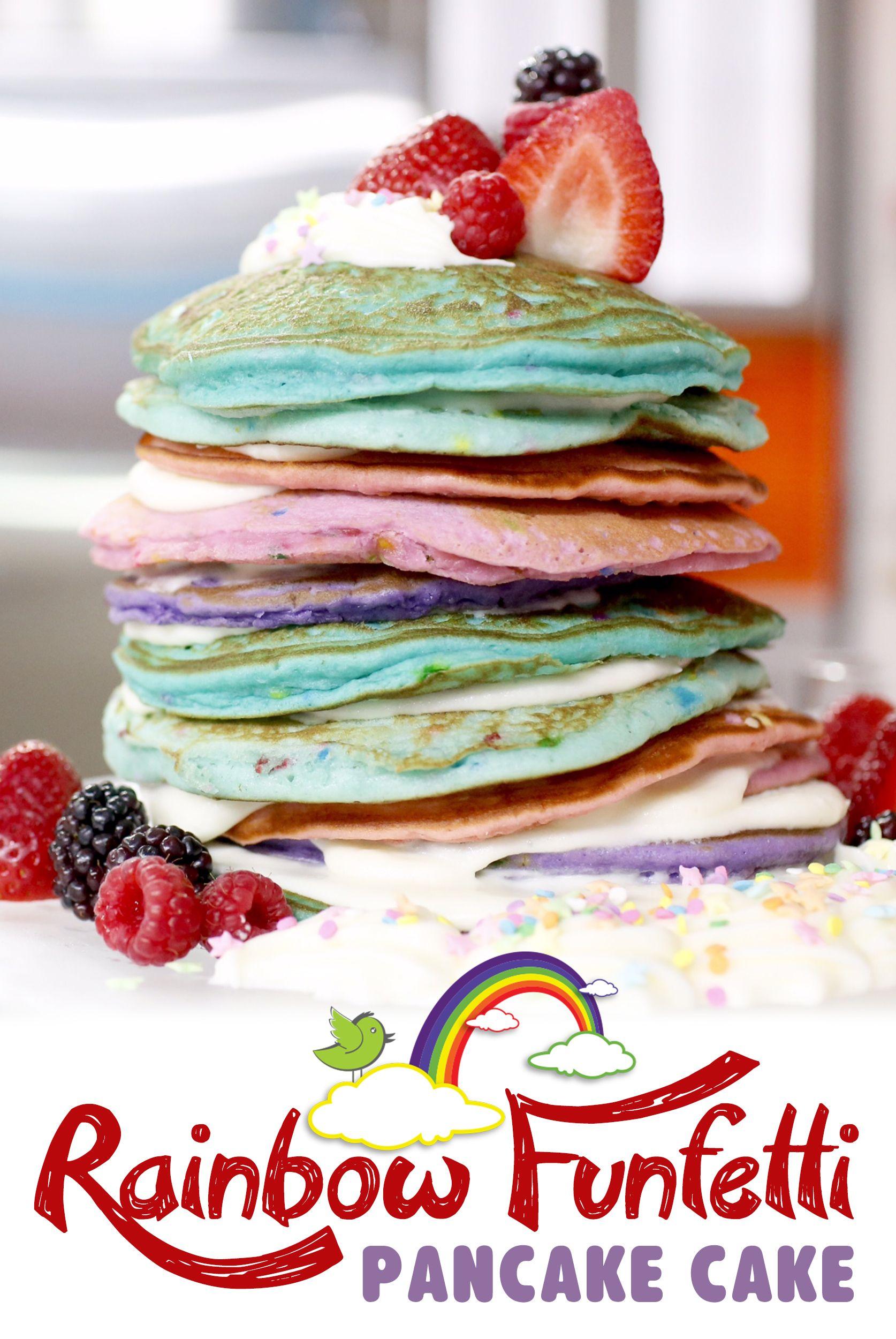 Rainbow Funfetti Pancake Cake Recipe Pancakes Pancake