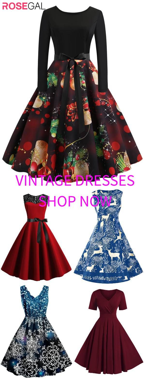 Rosegal Plus size vintage dress Christmas party Dress christmas outfit ideas [Extra 20% OFF: RGFR20] 1