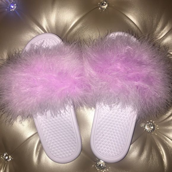 a3f646aea52 Authentic white or black nike slides with orchid fluffy fur!