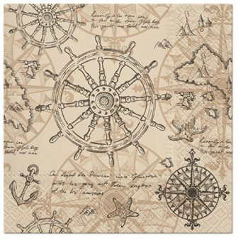 Decoupage Paper Napkins of a Vintage Map of the Ocean | Decoupage Paper