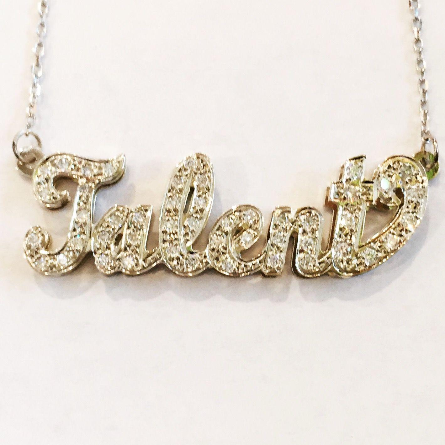K gold classic diamond nameplate diamond bling bling and white gold
