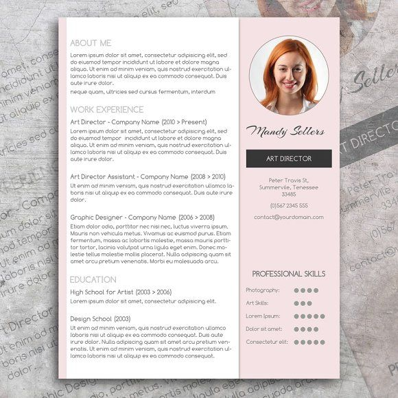 Pink CV & Cover Letter By Visual Impact On @creativemarket