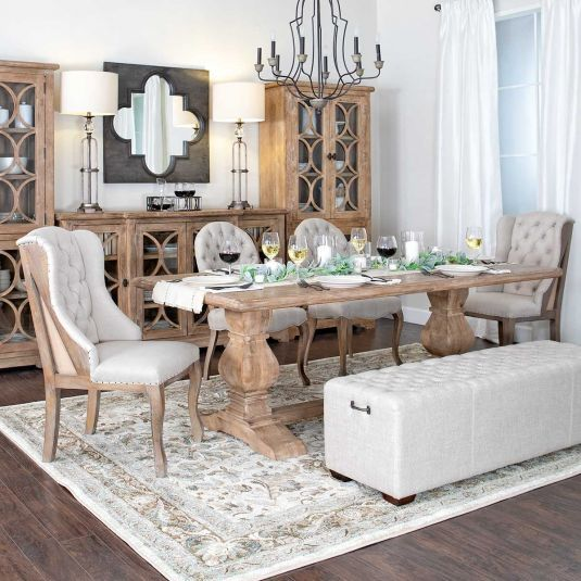What S Includedflorentine Dining Table2 Side Chairs2 Host Chairsupholstered Benchhighlight Farmhouse Dining Room Dining Room Design Comfy Living Room Furniture Dining room sets for 2