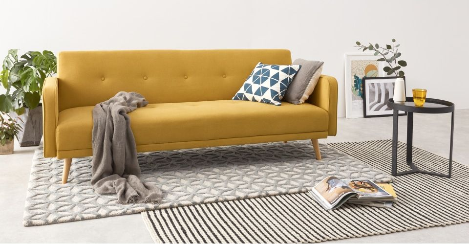 Schlafsofa Yellow Möbel Chou Click Clack Sofa Bed, Butter Yellow | Schlafsofa