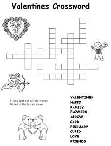 valentine 39 s day crossword for kids valentine 39 s day in the classroom valentine decorations. Black Bedroom Furniture Sets. Home Design Ideas