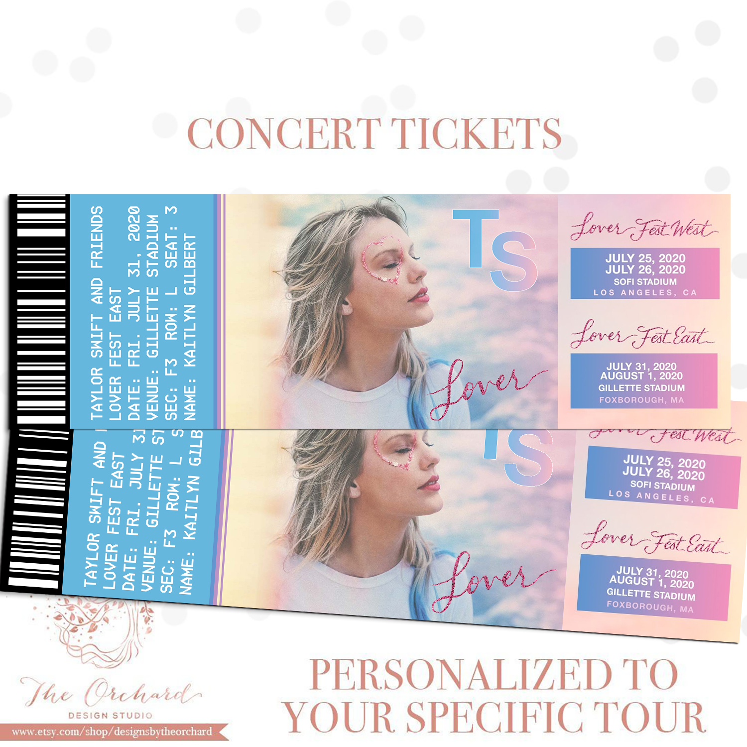 Custom Event Tickets You Self Print Sports Concert Music Etsy Taylor Swift Tickets Concert Tickets Concert Gift Ideas