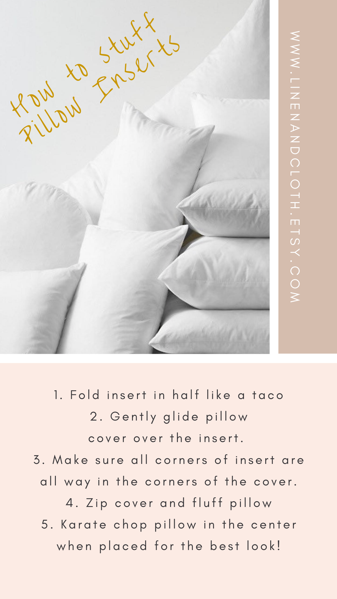 How To Stuff Pillow Inserts 1. Fold
