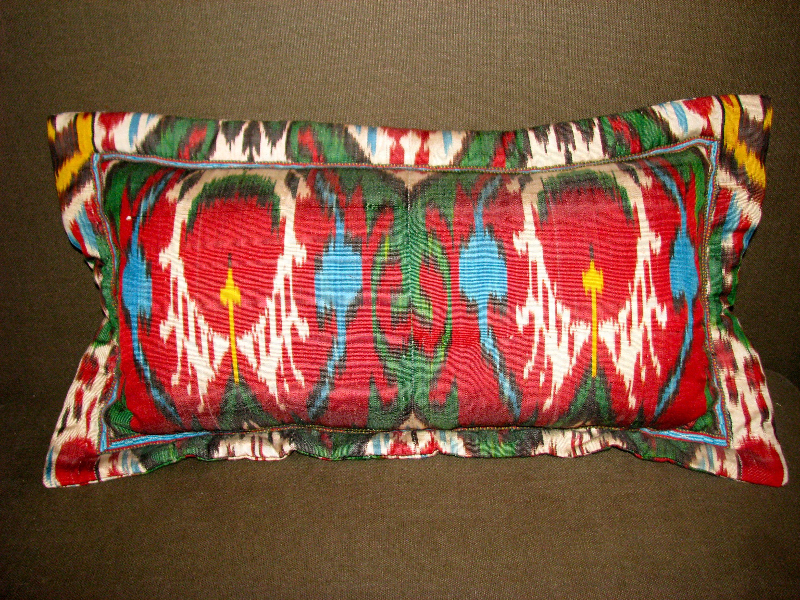 Sold uzbek silk ikat lumbar pillow handmade pillows for