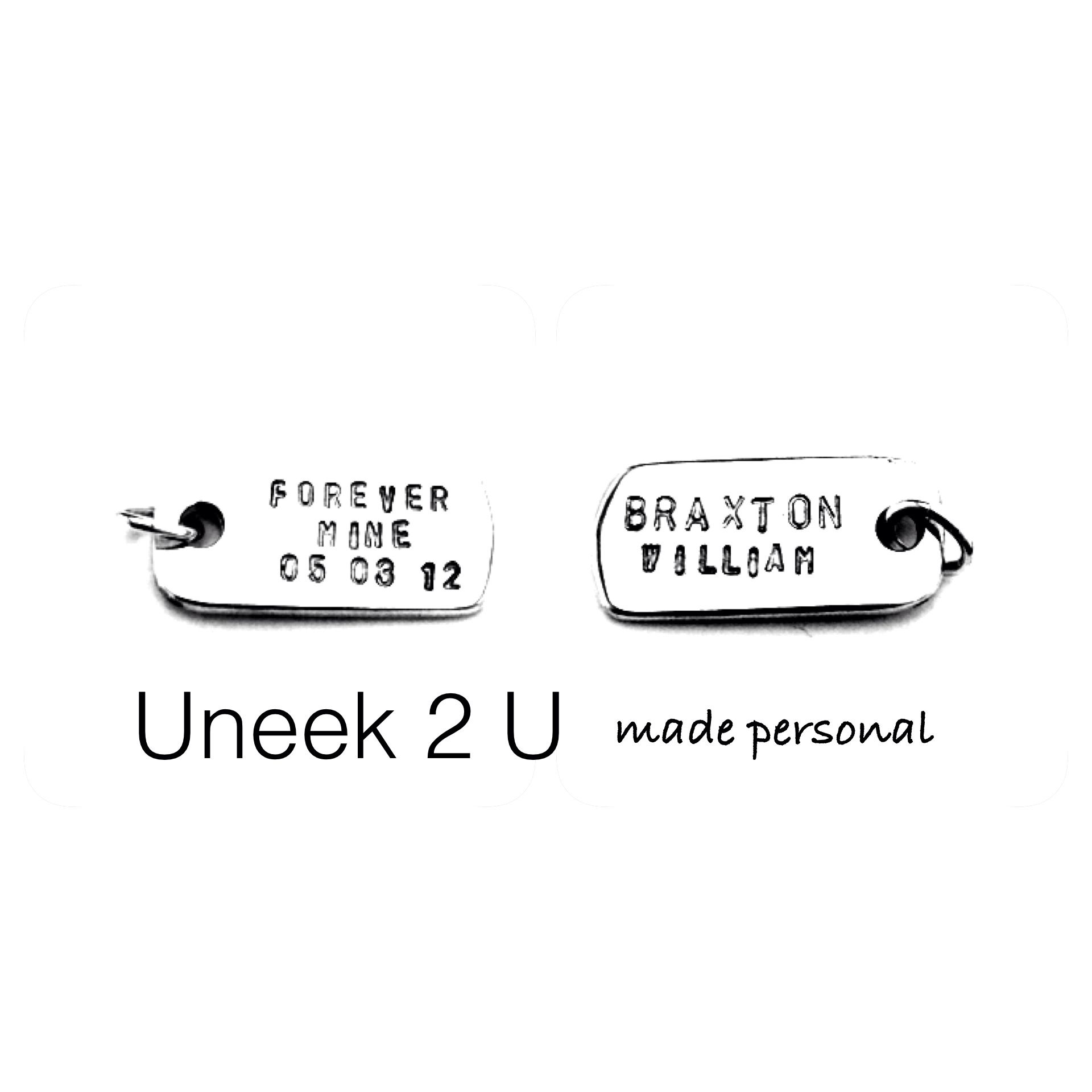 Hand crafted and hand stamped personalised silver jewellery that emotionally connects us to a special someone or important event in our loves. Each piece is as unique as the person it is created for ... UNEEK 2 U and made personal by me! U2U xxx