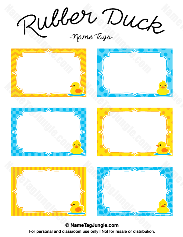 Free Printable Rubber Duck Name Tags The Template Can Also Be Used - Free printable name tags template