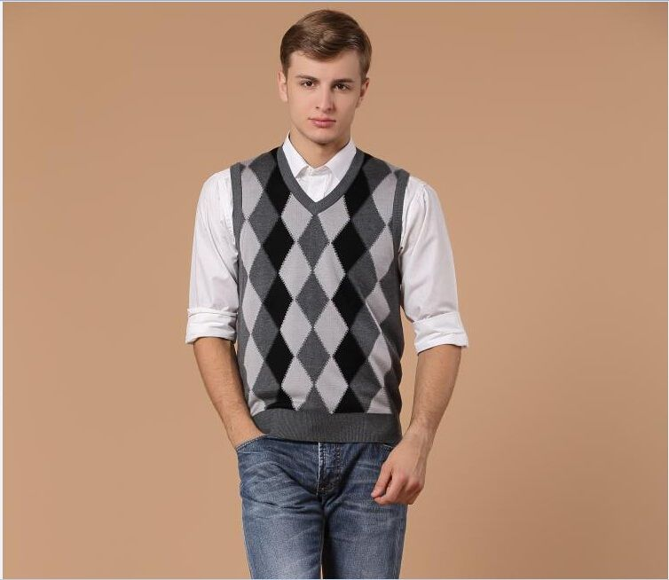 Hot sale autumn classic style formal argyle men's v-neck ...