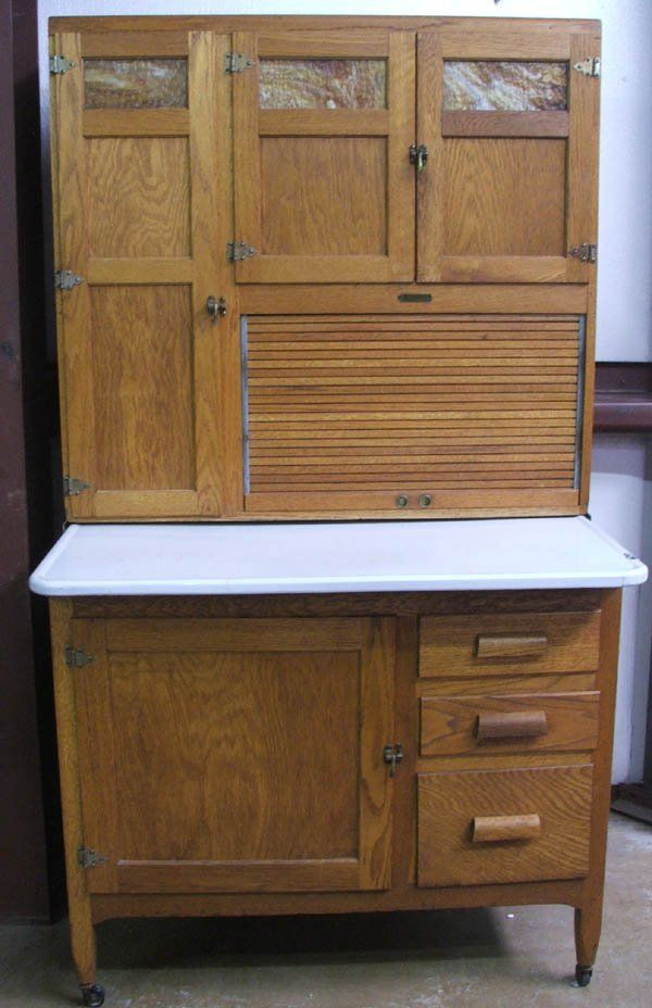 vintage kitchen hoosiers | Antique Oak Kitchen Maid Hoosier Cabinet : Lot  1830 - Vintage Kitchen Hoosiers Antique Oak Kitchen Maid Hoosier