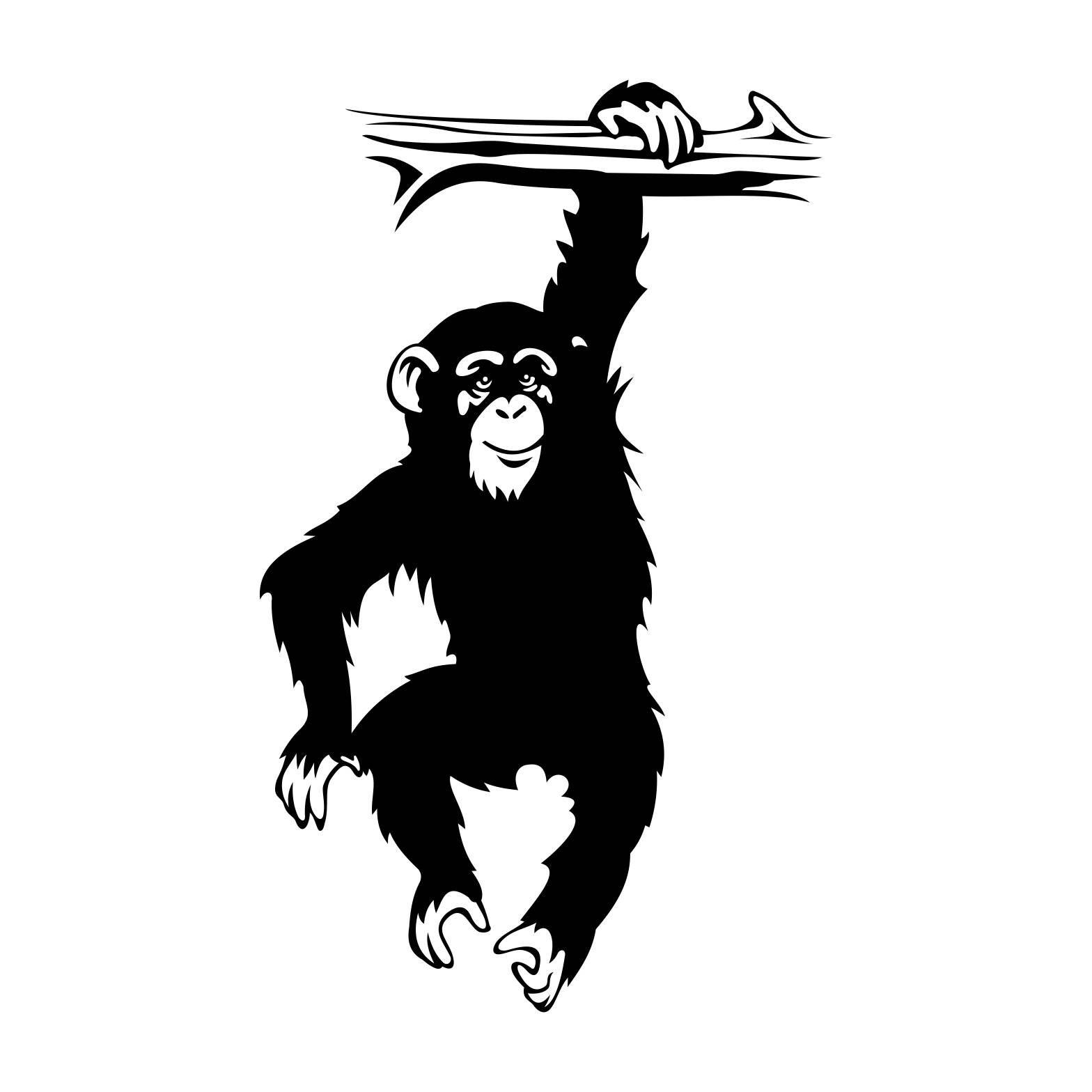 Monkey Chimpanzee Bough Graphics Svg Dxf Eps Cdr Ai