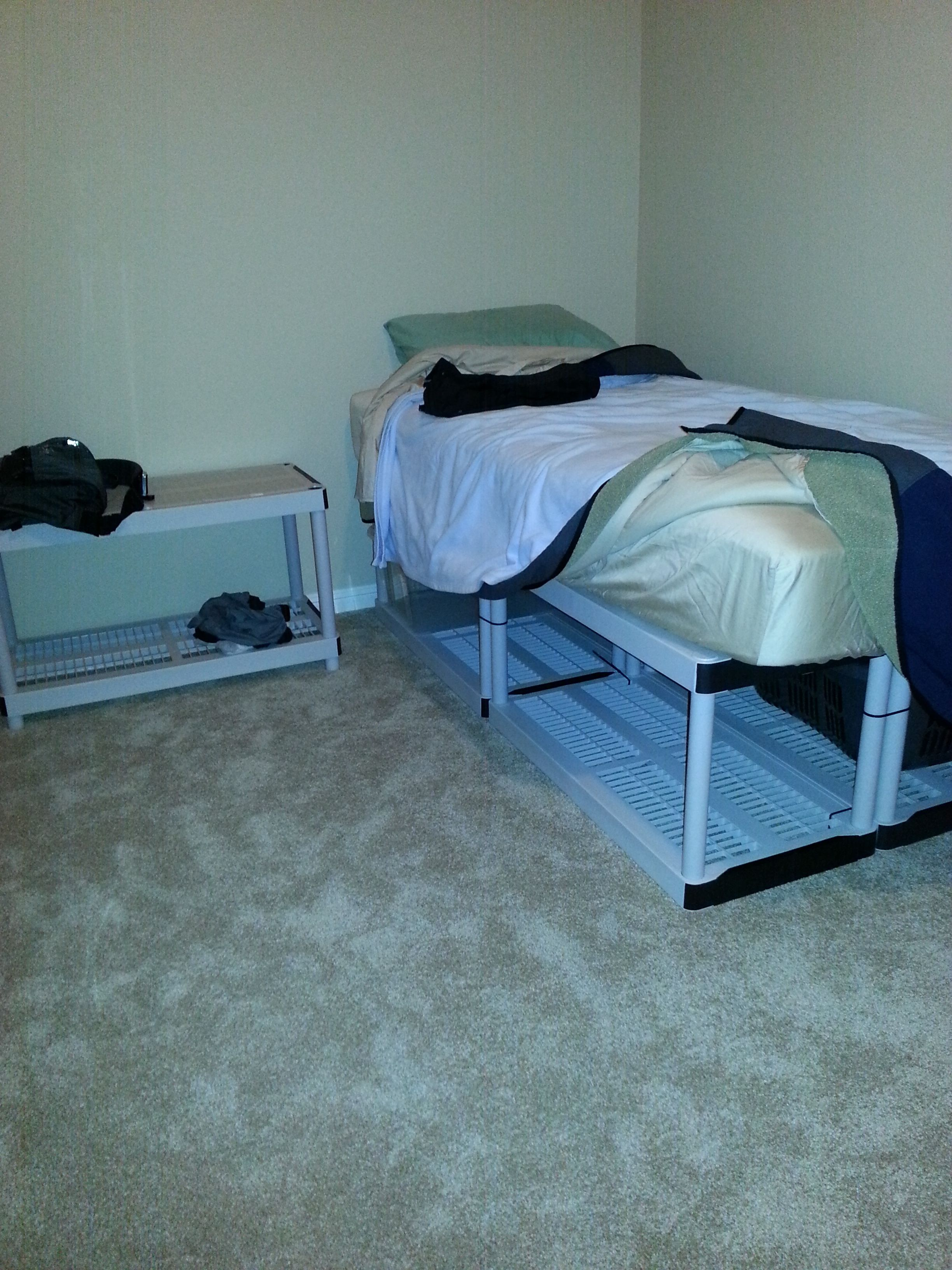 Twin Mattress Bed Frame Made From Shelving Storage Below Shelving