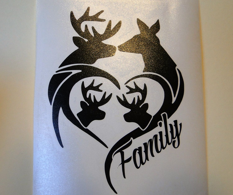 Deer Family Car Truck Window Outdoor Sign Vinyl Decal Black Hunting