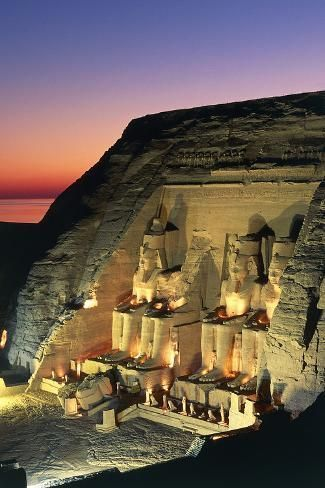 The Great Temple of Ramses II at Dusk, Abu Simbel Photographic Print by | Art.com -   - #ABU #Artcom #BeautifulCelebrities #Dusk #Egypt #Film #great #Museums #photographic #print #ramses #simbel #temple