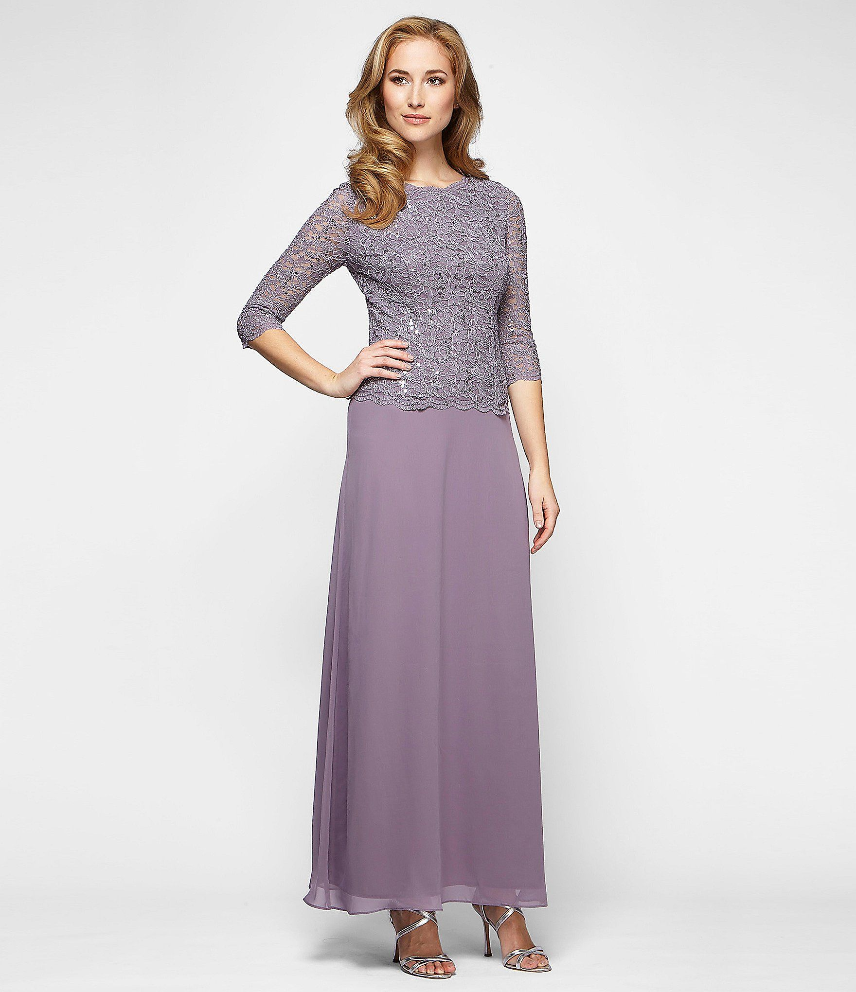 Alex Evenings Sequined Lace & Chiffon Gown | Chiffon gown, Dillards ...