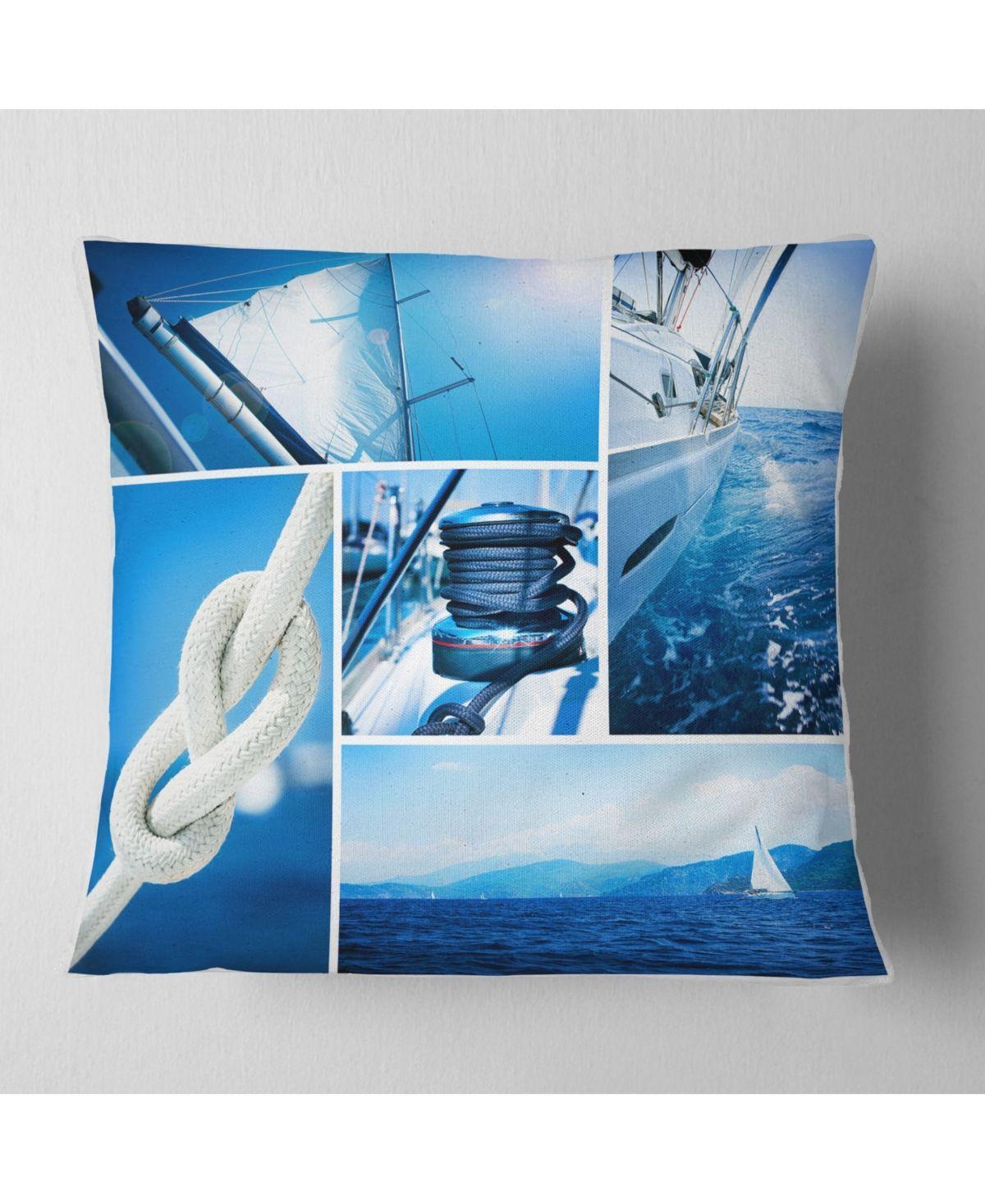 Designart Sailing Yacht In Blue Sea Collage Seashore Throw Pillow 26 X 26 Blue Yachtwoman Sailing Yacht Throw Pillows Beautiful Throw Pillows