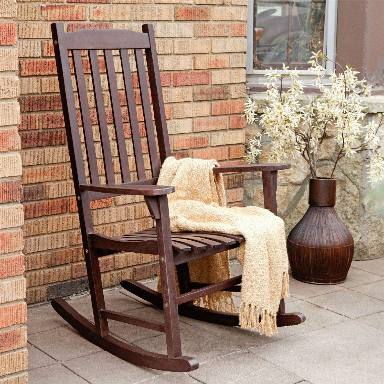 Indooroutdoor patio porch dark brown slat rocking chair