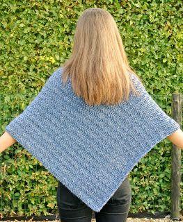 Poncho Van 2 Rechte Lappen Crochet Fashion Crochet Crochet